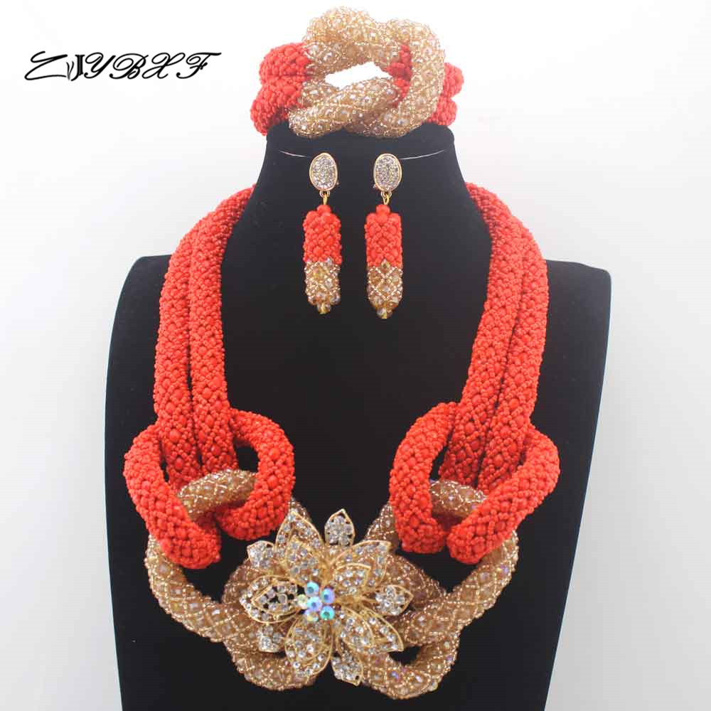 Nigerian Wedding Party: Coral Orange Burgundy Wedding Party Beads African Jewelry