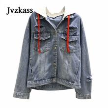 Jvzkass 2019 spring new hole hooded denim jacket female wild students loose retro long-sleeved Z122
