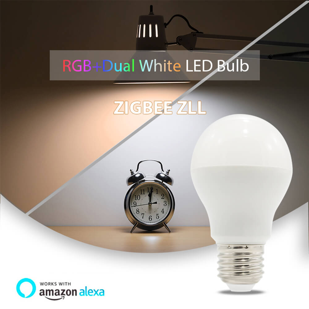 Купить с кэшбэком ZIGBEE hub E27 LED bulb RGB+CCT dual white led bulb E26 AC100-240V 6W smartphone APP control zll light link for Echo Alexa plus