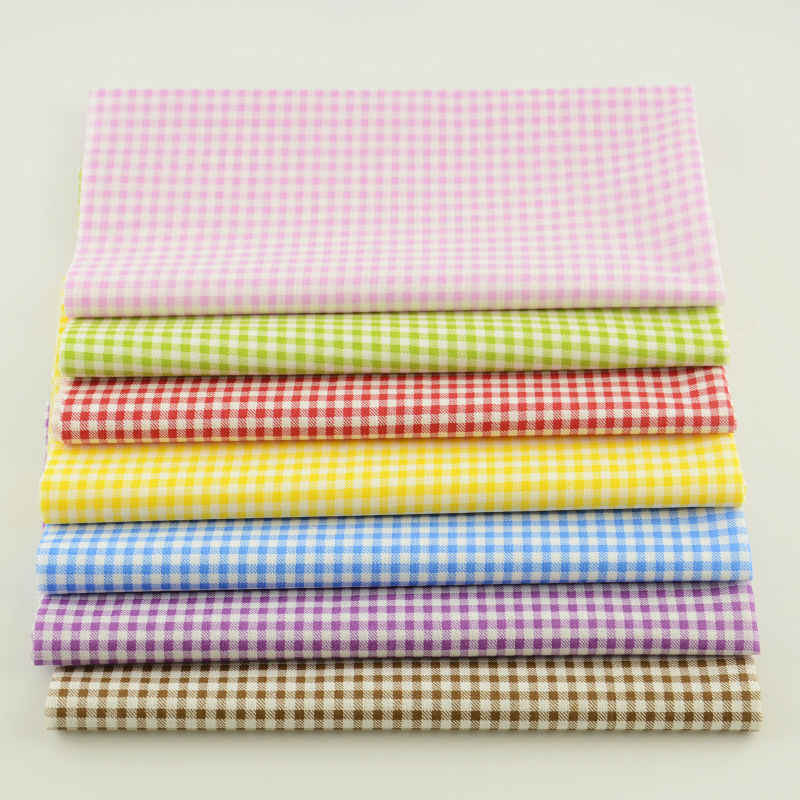 Booksew Cute Colorful Check Style Patchwork 7 Piece/lot Cotton Fabric Plain Sewing Cloth Tissue Cutting Piece Quilting Meter