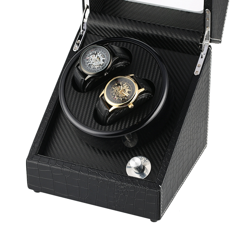 Automatic Mechanical Watch Winder Lacquer Glossy Black Carbon Fiber Double Watch Winding Box Quiet Motor Storage Display Case UK