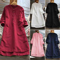 Big Size Dresses Summer 2019 Cotton Linen Shirt Women Button Up Long Women's Tunic Blouse Loose Short Sleeve Solid Irregular W3