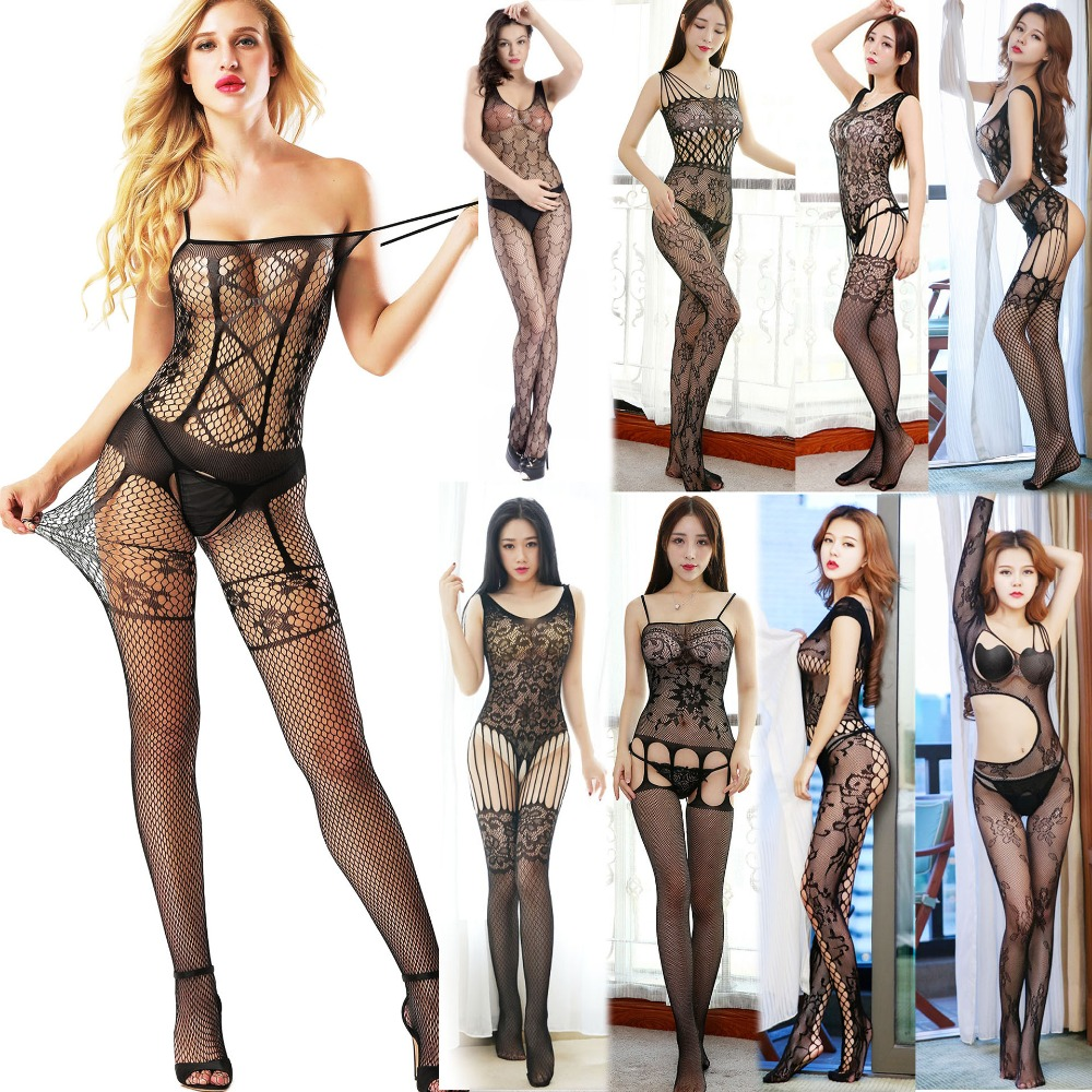 Fantasy Sexy Fishnet Body Stockings Lingerie Erotic Open Crotch Underwear Night Suspender For Women Stretchy Mesh Tight Appeal