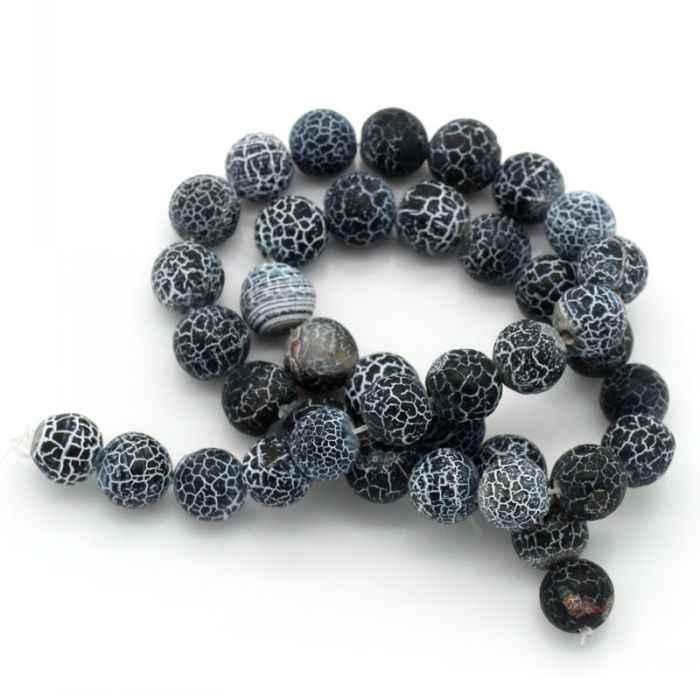 DoreenBeads Al Dettaglio Creato pietre Semi-preziose Perle Tonde Nero Bianco Crepa 10mm Dia, 38 cm di lunghezza, 1 Strand (circa 39 Pz)