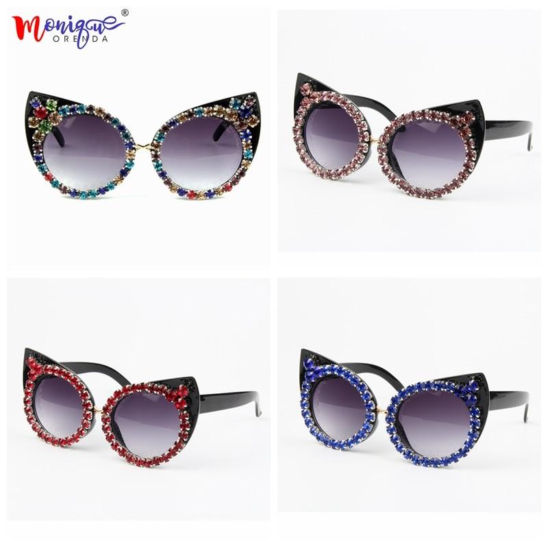 Cat Eye Sunglasses Women Vintage Small Lense Eyeglasses Retro Red Purple rhinestone 2018 women Stylish Sun Glasses UV400