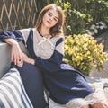 2017 Senhoras Conjuntos de Pijama Em Casa Arco Laço Menina O-pescoço Camisolas + Calças Arco Oco Pijamas Mulheres Quente Lã Macia do Sono ternos
