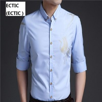 ECTIC ECTIC Good Patchwork Black Button Turn Down Collar Long Sleeve Twill Business Formal Mens Dress