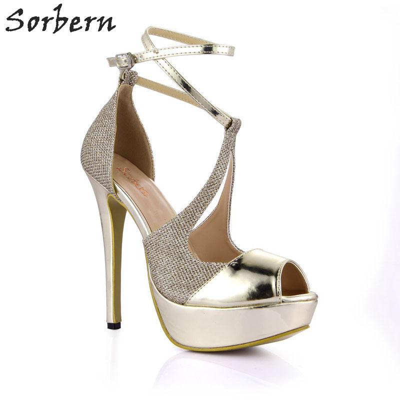 Sorbern Sexy Gold Ladies Shoes Size 43 Women Pump Shoes Party Shoes 14Cm Stilettos Peep Toe Sky High Heels Pumps Ladies Heel купить