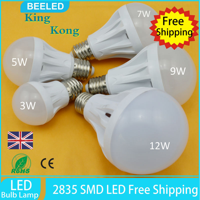 10pcs Lot LED Bulb Lamp E27 2835SMD 3W 5W 7W 9W 12W Cold White Warm White High Brightness 220V Free Shipping Home Lighting Lamp