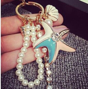 FREE SHIPPING New 2015 Metal Rhinestone Starfish Shell Pearl Bag Hanger Key chain Fashion Key ring Souvenir for women girls