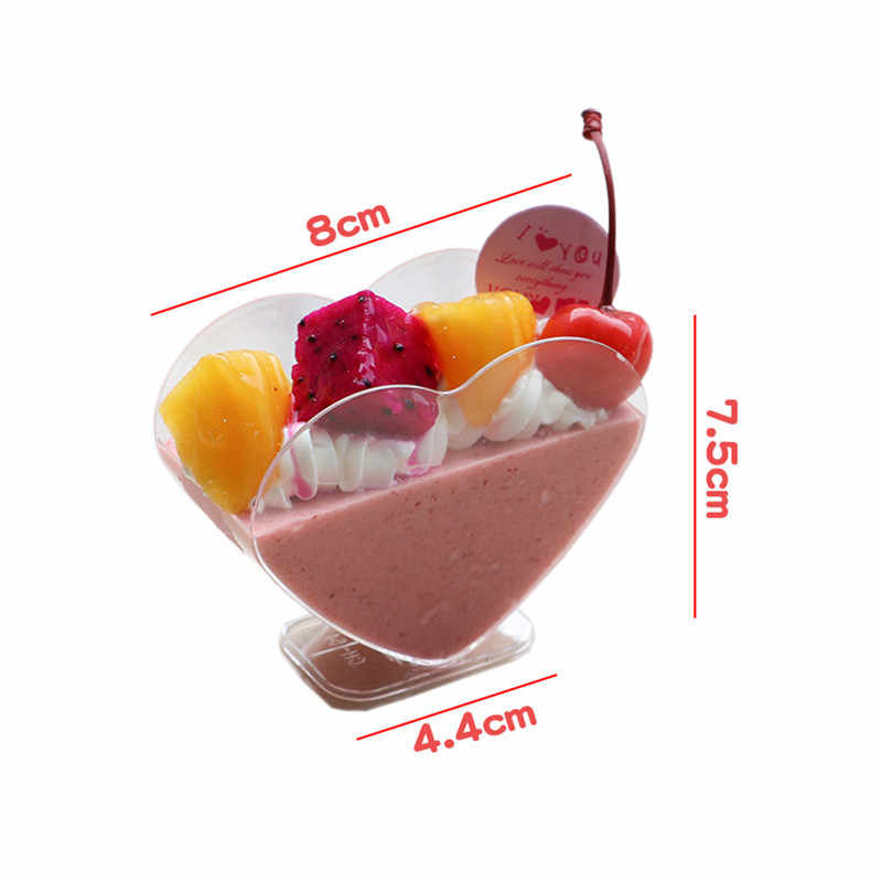 Heart-shaped love transparent disposable pudding jelly ice cream cup party favor dessert decoration cup kitchen basking tool