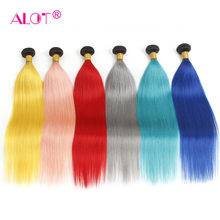 ALOT Ombre Straight Hair Brazilian Human Hair Wave Bundles 1B-Red/Blue/Grey/Green Remy Human Hair Extension 3 Bundles Deals(China)