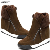 AREEQW Winter New Snow Boots Women Wedges Black Martin Boots Warm Suede Bare Boots Woman 2017