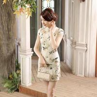 Traditional Printed Flowers Chinese Female Satin Cheongsam Women Vintage Qipao Summer Sexy Short Mini Dress S