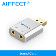 AIFFECT External USB Sound Card USB to Jack 3.5mm Headphone Adapter Audio Mic Sound Card for PC Computer Laptop