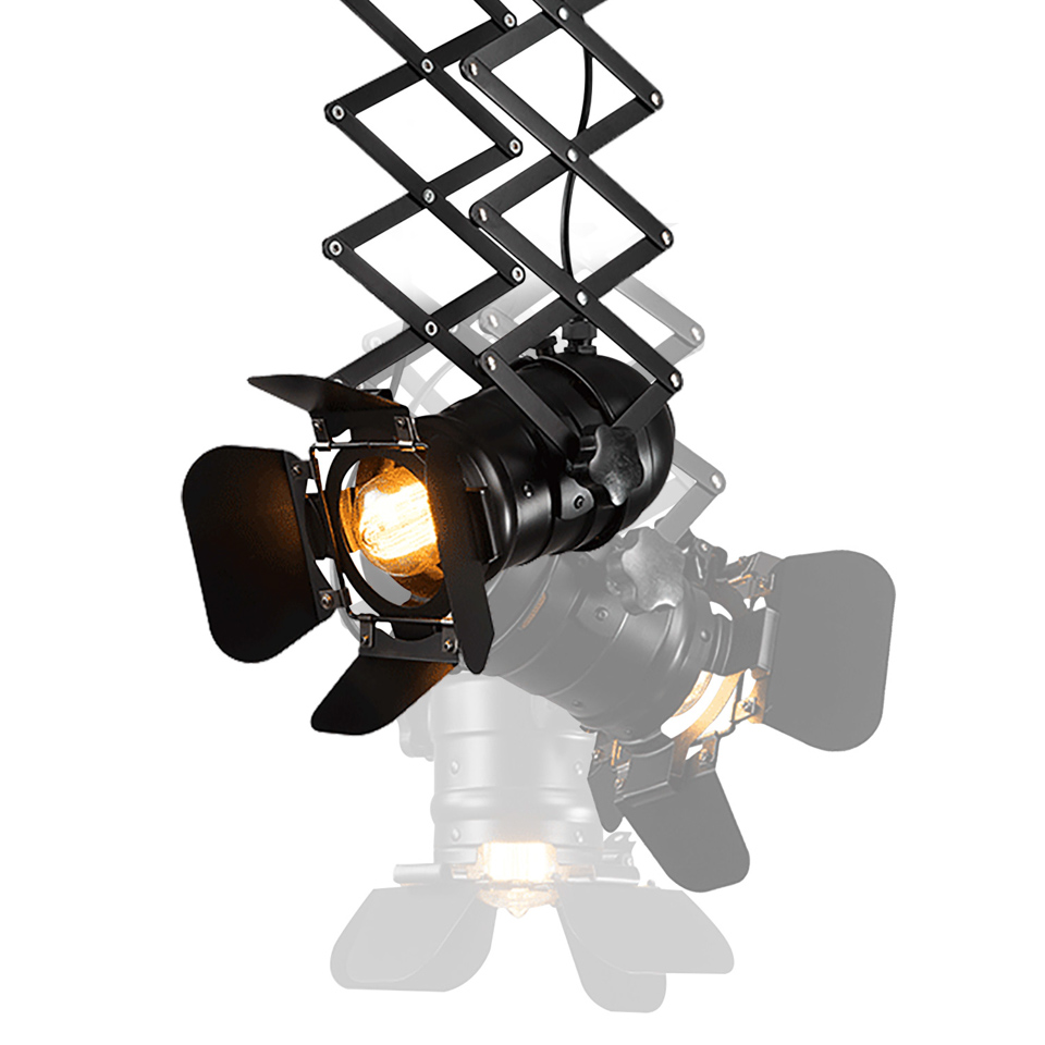 Industrial Loft Black Stretch Ceiling Lamps Iron Lamp Body E27 Bulbs Retro Spotlight Track Lights Commercial