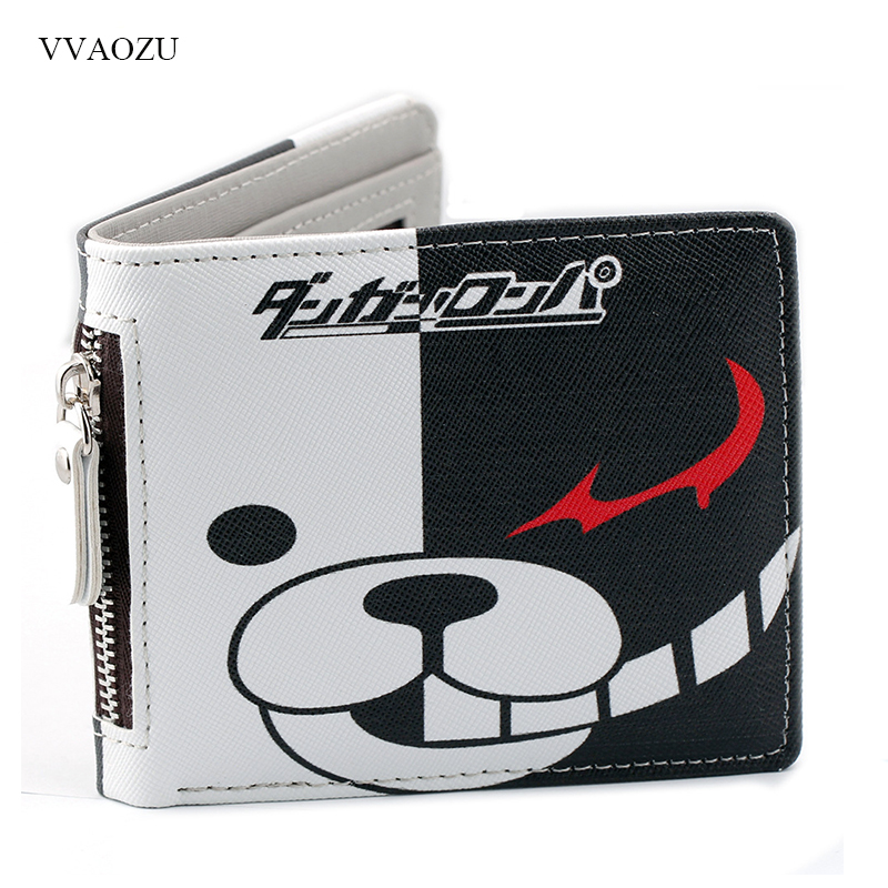 Anime Danganronpa Short PU Purse Monokuma Wallet With Zipper Coin Purse