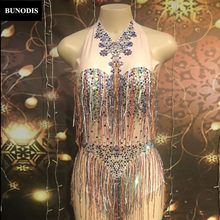 ZD406 Women Sexy Colorful Tassel Bodysuit Sparkling Crystals Nightclub Party Stage Wear Dancer Singer Bling Costumes(China)