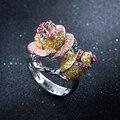 (Красота) Цирконий Камень Женщины Цветок кольца Свинец Золото и Platimum Гальваническим размер США 7,8, 9
