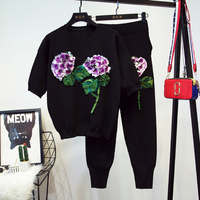 Fall 2017 New Women S Clothing Embroidery Sequins Flower Knit Feet Pants Two Piece Outfit