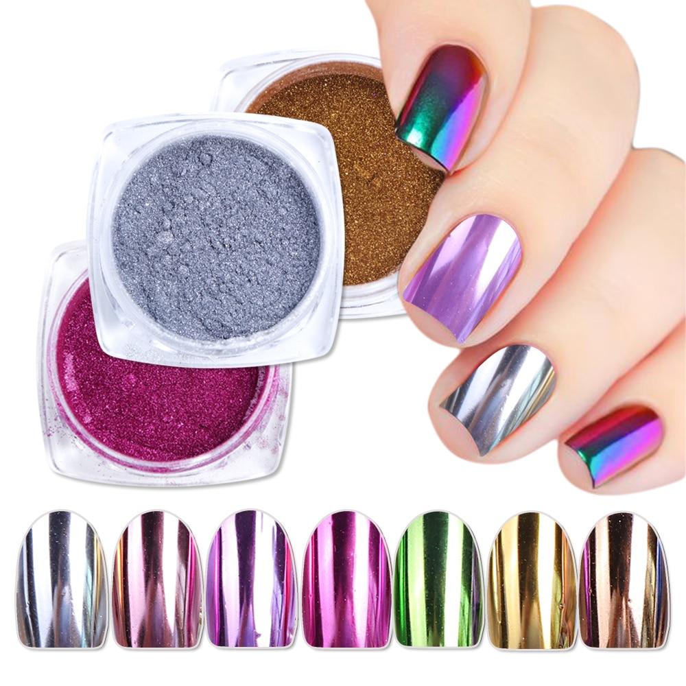 1pcs Magic Mirror Nail Dip Powder Dust Dipping Chrome Glitters Shiny Uv Gel Polish Flakes Sequins Nail Art Decorations Bec/asx Last Style