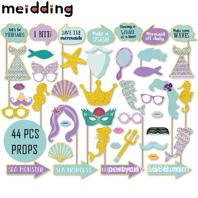 Meidding 44pcs Set Diy Mermaid Theme Party Photo Booth Props Baby