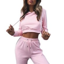 Loozykit Women's Sportsuit Summer Hooded Striped Sweater Solid Color Long-Sleeved Trousers Casual Crop Tracksuit 2Pcs 2019(China)