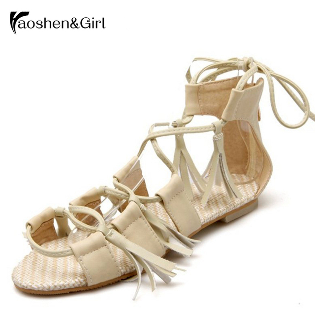 62ca61a43f Women Flat Ankle Strap Sandals Narrow Band Gladiator Sandals Boots Summer  Lace Up Sandals Flat Tassle Shoes Size 32-43 G1904