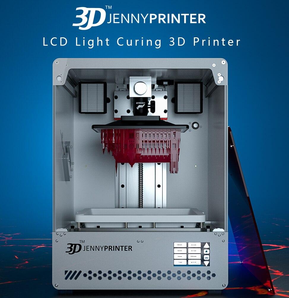 2019 JennyPrinter JennyLight1 + Grande Tela Sensível Ao Toque de Resina UV Impressora de LCD 3D Rédea Livre Lavável com Água 500 ml