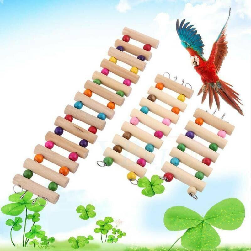 12/18/30cm Wooden Hanging Parrot Ladder Swing For Bird Rat Hamster Climb 1pc Animal Bridge Pet Playground Toys