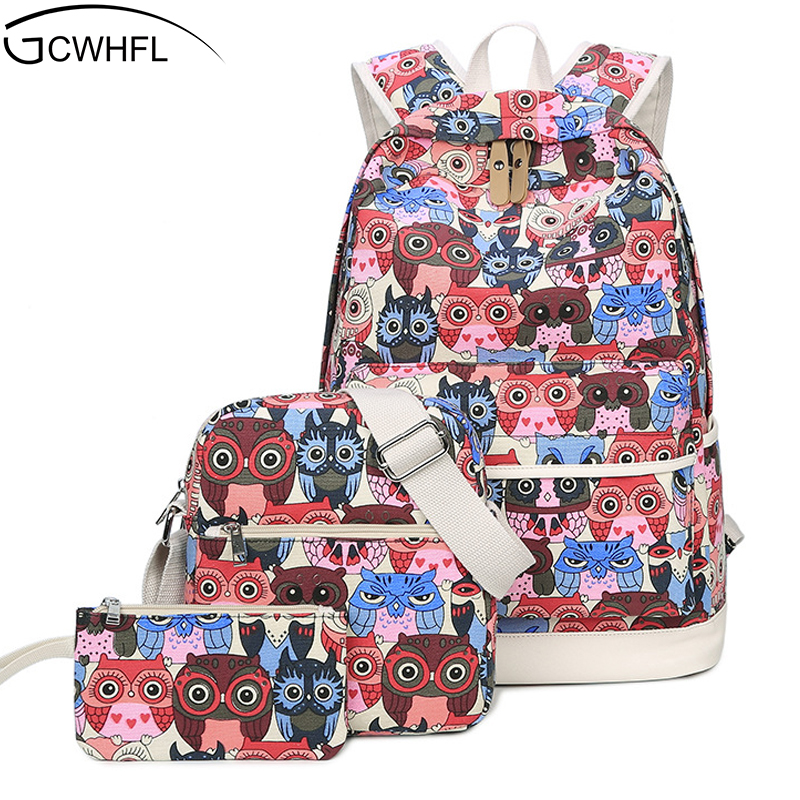 New 2017 Canvas Backpack Women Cartoon Owl School Bag For Teenagers Girls Canvas Bags 3 Set Travel High Quality Female Backpacks new gravity falls backpack casual backpacks teenagers school bag men women s student school bags travel shoulder bag laptop bags
