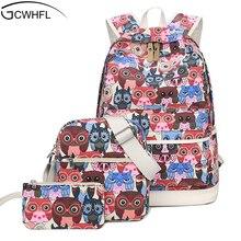 Новый 2017 холст рюкзак Для женщин с рисунком Совы школьная сумка для подростков Обувь для девочек холст Сумки 3 компл. путешествия высокое качество женские Рюкзаки