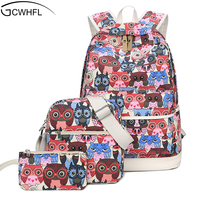 New 2017 Canvas Backpack Women Cartoon Owl School Bag For Teenagers Girls Canvas Bags 3 Set