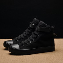 New Spring/Summer Men Casual Shoes Breathable Black High-top Sneakers Lace-up Canvas Shoes 2019 Fashion White Men Shoes Flats