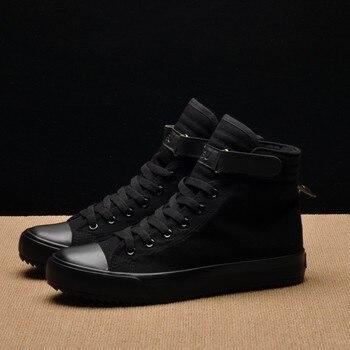 824b8c9d9f51 Neue Frühjahr/Sommer Männer Casual Schuhe Atmungsaktiv Schwarz High-top  Sneakers Lace-up Leinwand Schuhe 2019 Mode weiß Männer Schuhe Wohnungen