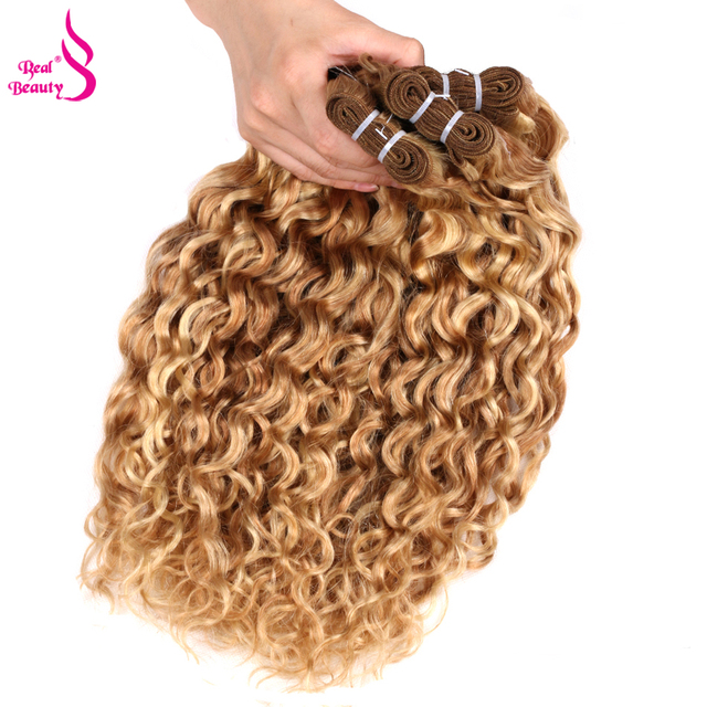 """Real Beauty Ombre  Water Wave P27/613 Two Tone Brazilian Human Hair Extensions Weave Bundles Auburn 1/3/4 PC Remy Hair  12""""-24"""""""