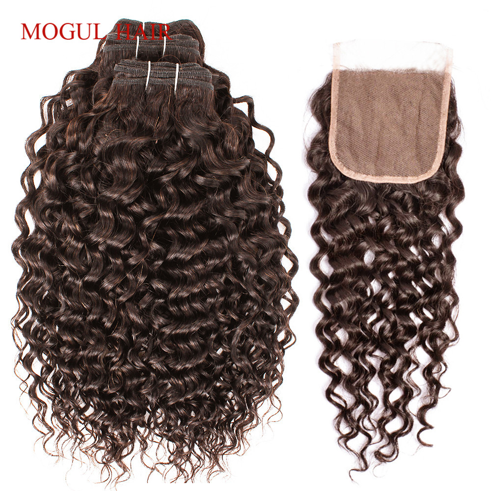 MOGUL HAIR Dark Brown Color 2 Peruvian Water Wave Bundles With Closure Free Middle Part 2