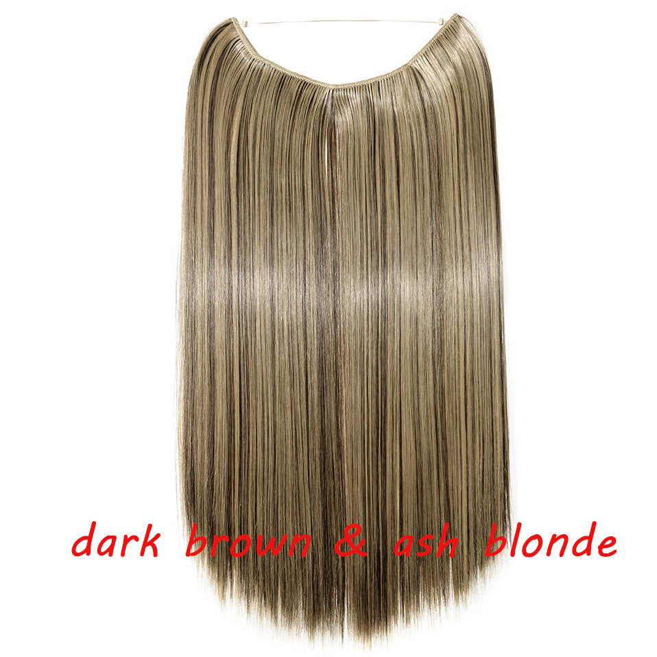 S-noilite 20 дюймов невидимый провод без заколки для волос Расширения секретная Рыбная линия шиньоны шелковистые прямые настоящие натуральные синтетические - Цвет: 4AP24A