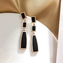 Stainless Steel Black Geometric Long Earrings For Women 2019 New Classic Fashion Jewelry Dangle