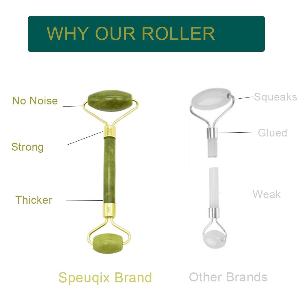 Jade Roller Set Stone Facial Roller Massager 100% Natural Jade Roller Crystal Slimming Thin Face Massager Kit With Gua Sha Tools 3