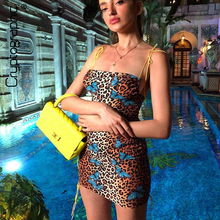 Cryptographic Fashion Leopard Butterfly Print Spaghetti Strap Womens Dress Summer Sexy Sleeveless Mini Dresses Party Club Chic