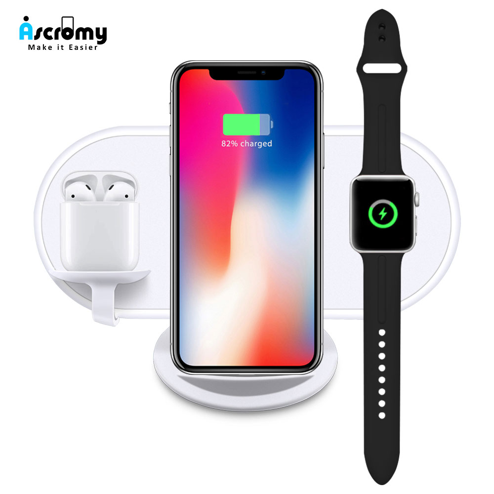 timeless design 87480 3d12c Ascromy 3 in 1 Wireless Charger Pad Dock Station For Apple Watch Airpods  iPhone XS Max XR X S 8 Plus QI Induction Charging Stand