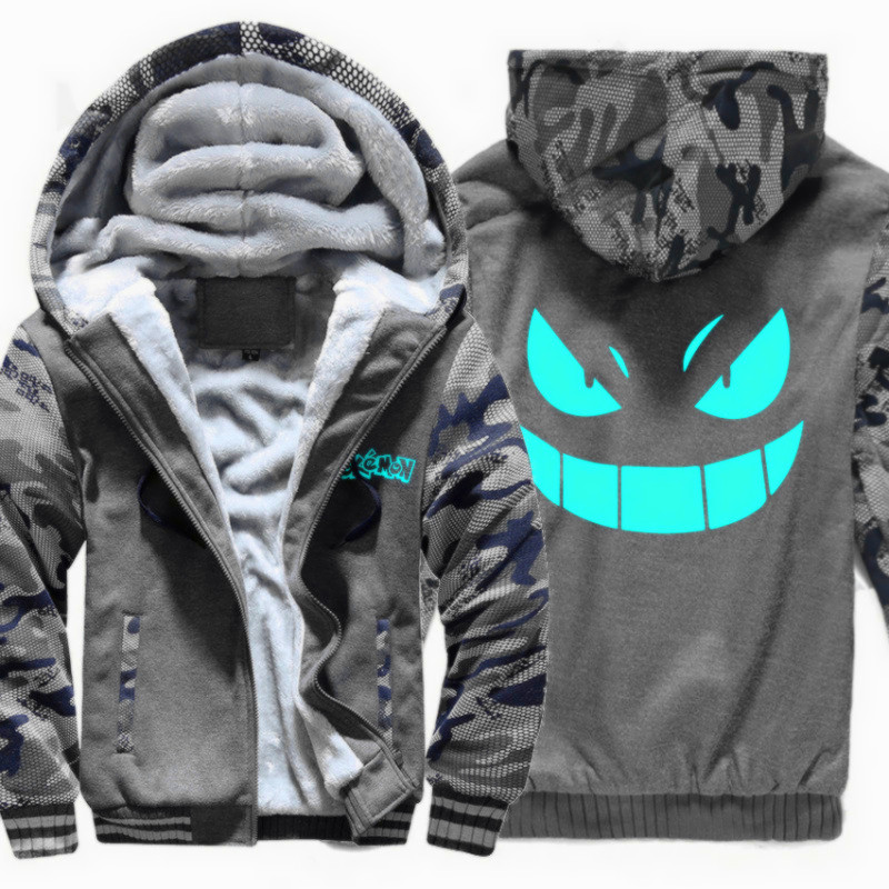 Men's Winter Thick Jacket Pokemon Luminous Camouflage Men Coat Hooded Sweatshirt With Polyster Villus Lining