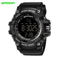 SANDA LED Electronic Watch Men Sports Wrist Watches Big Dial Military Digital Watches Shock Resist Clock