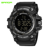 SANDA LED Electronic Watch Men Sports Wrist Watches Big Dial Military Digital Watches Shock Resist Clock