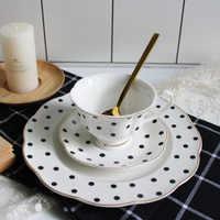 200ml Retro British Tea Coffee Cup and Saucer Set Black Polka Dot Stripes Pattern Low Bone China Ceramic Cups