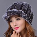 2016 Women Casual Solid Rex Rabbit Fur Hat Warm Elastic Hats Girl Winter Skullies & Beanies Elegant Lady Beanies Cap
