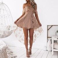 Women A Line Lace Maxi Dress Off Shoulder Solid Ruffles Party Dresses Elegant Wedding High Low