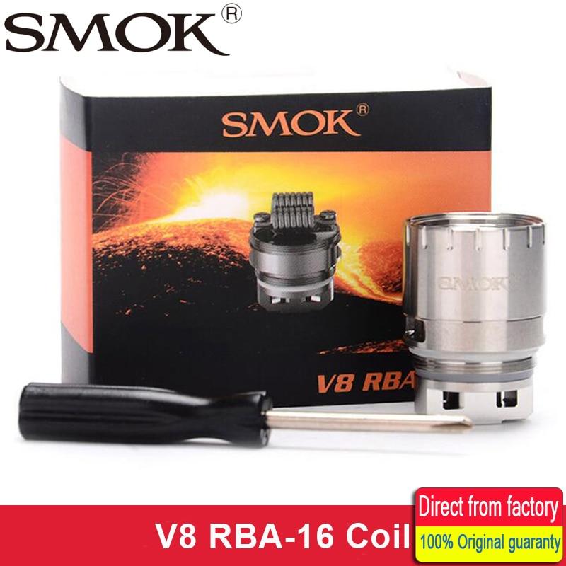 Original smok TFV8 V8 RBA-16 RBA 16 bobina Octuple Core 0.16ohm cabeza bobina rebuildable enorme cubierta y flujo de aire para TFV8 atomizador