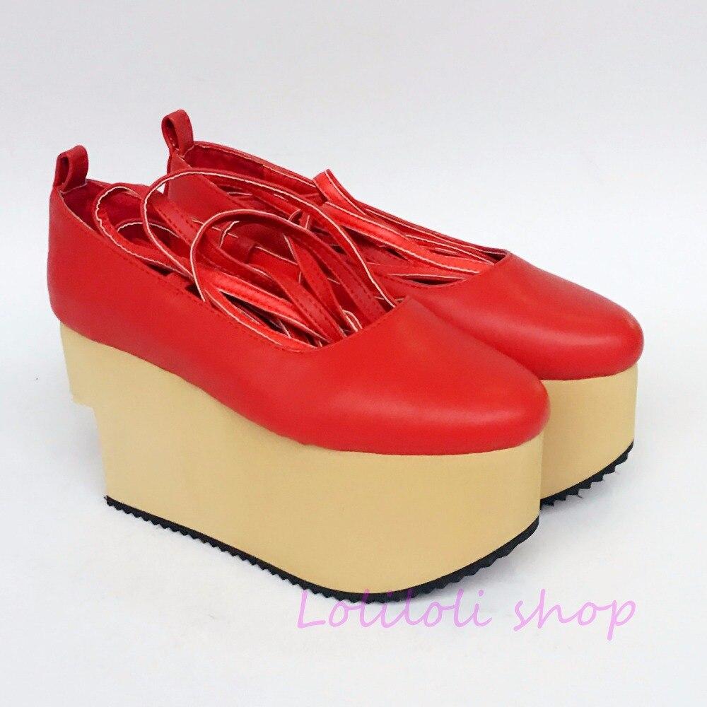 Sole Sweet Rot Loliloli Prinzessin Helle Yoyojapanese Haut Benutzerdefinierte Flatform Großen Lolita up Mehrfach Schuhe Design Siz Beige Lf178n Spitzen Ofwwdq